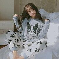 Новое поступление осень-зима Для женщин Пижамы для девочек коралловый флис Ночная рубашка пижамы милый Пёс из мультфильма узор пижамы ночн...