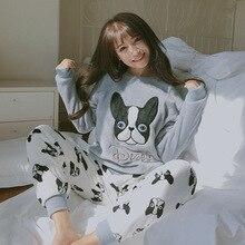Yeni varış sonbahar kış kadın pijama setleri mercan polar gecelik pijama sevimli karikatür köpek desen pijama kıyafeti iki adet Set