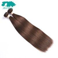 Allrun Cheveux Pré-couleur des cheveux Indiens Cheveux Raides #4 Brun Clair Brut Indien Cheveux Faisceaux 2 faisceaux pack No Mix Livraison Gratuite