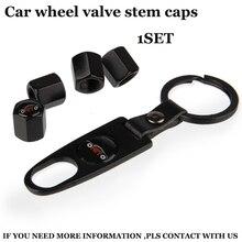 1set of auto wheel tire valve covers With Car key chain car wheel valve stem caps