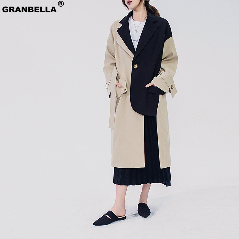 Original design women irregular patchwork blazer style   trench   coat 2019 New Mid-long Khaki Slim Belt Cloak Mujer Windbreaker