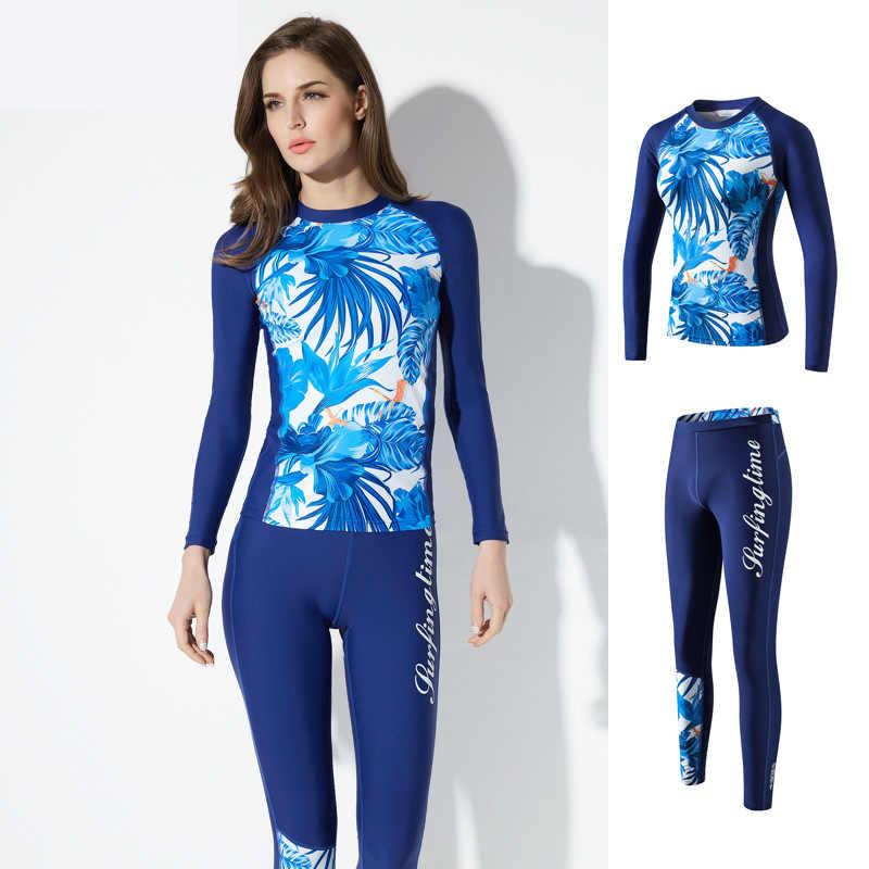 Olahraga Lengan Panjang 2 Buah Baju Renang Wanita Wetsuit Scuba Diving Baju Renang Fullbody Triatlon Sesuai Selancar Angin Pakaian UV Rushgard