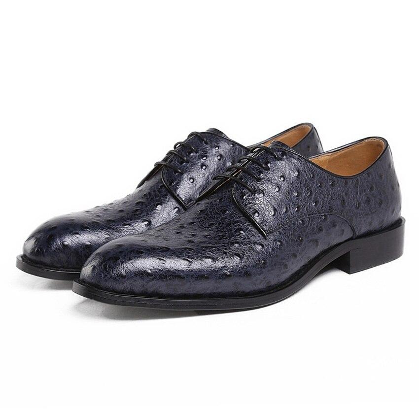 Genuíno Preto Toe Couro De Casamento Vestido Ymx344 Derby Luxo Calçados Avestruz Shoes Formal Homens Artesanal Mala Homem azul Apontou Festa Da Padrão Dos 1wtxYvcq