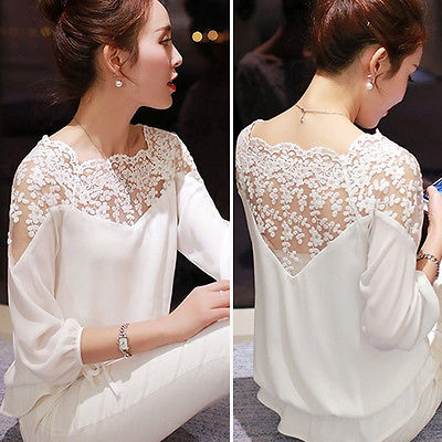 2019 New Sexy Fashion Women Hollow Out Lace Chiffon Blouse Casual Ladies Elegant Lace Shirt