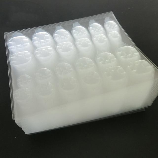 100 pcs/lot adhésif pour ongles respirant colle sur ongles conseils en plastique faux faux ongles conseils colle adhésive avec outil de manucure coupe-ligne