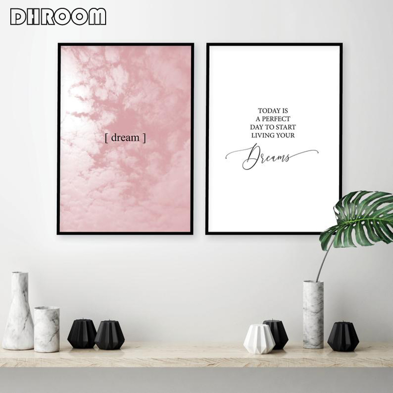 Scandinavian Quote Posters Dream Inspirational Canvas Prints Blush Pink Clouds Painting Picture Pink Bedroom Wall Art Decor