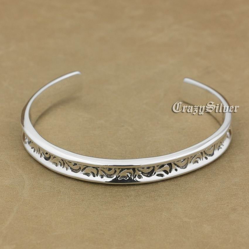 Fashion Solid 925 Sterling Silver Flower Charm Biker Bracelet Bangle 9A017 solid 925 sterling silver flower fashion charm biker bracelet bangle 9a017