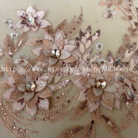 1piece High Quality Clothing Dress Appliques Champgane Large 3D Flowers Front Panels Pieces Wedding Dress Accessories