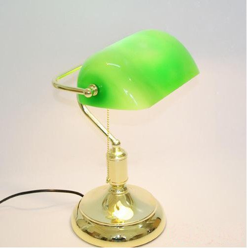 VINTAGE BRASS BANKERS LAMP With GREEN GLASS SHADE - VINTAGE BRASS BANKERS LAMP With GREEN GLASS SHADE-in Table Lamps