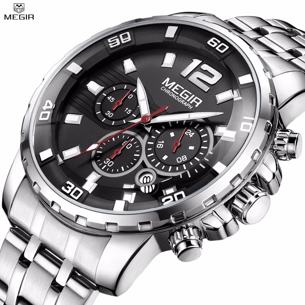 Megir Men's Chronograph Quartz Watches Stainless Steel Analogue Wristwatch 24-hour Display Waterproof Luminous Relogio Masculino clearaudio professional analogue toolkit