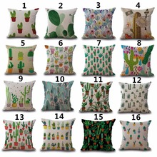 Cactus Painting Patterns Square 18 Inches Sofa Decorative Throw Pillow Case Cacti Home Cushion Cojines Covers