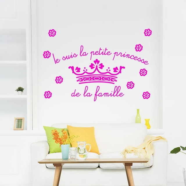 Livraison gratuite petite princesse autocollants muraux, français ...
