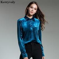 Ladies Formal Blue Velvet Blouse Women Top Blusas Mujer De Moda 2018 Spring Retro Shirt Camisa