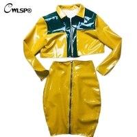 CWLSP Women Yellow PU Shinny 2 Piece Set Women Jacket Skirt Suits Sexy Bodycon Zipper Tracksuits