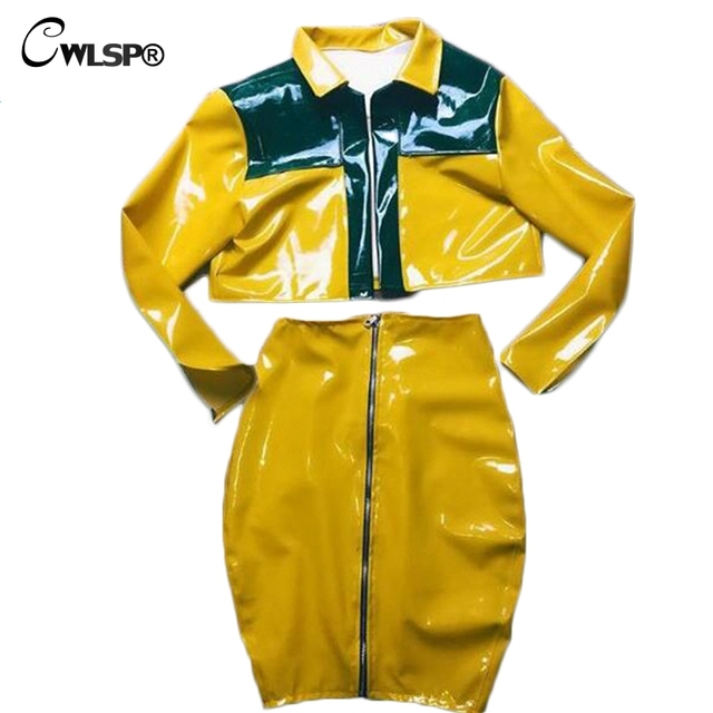 CWLSP Women Yellow PU Shinny 2 Piece Set women Jacket& skirt suits Sexy Bodycon Zipper Tracksuits survetement femme hiver QZ2358