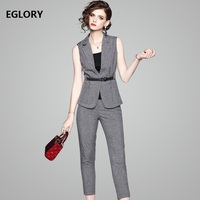 High Quality Work Sets Office Ladies Notched Collar Sleeveless Blazer Coat Corsets Skinny Leggings Calf Pants