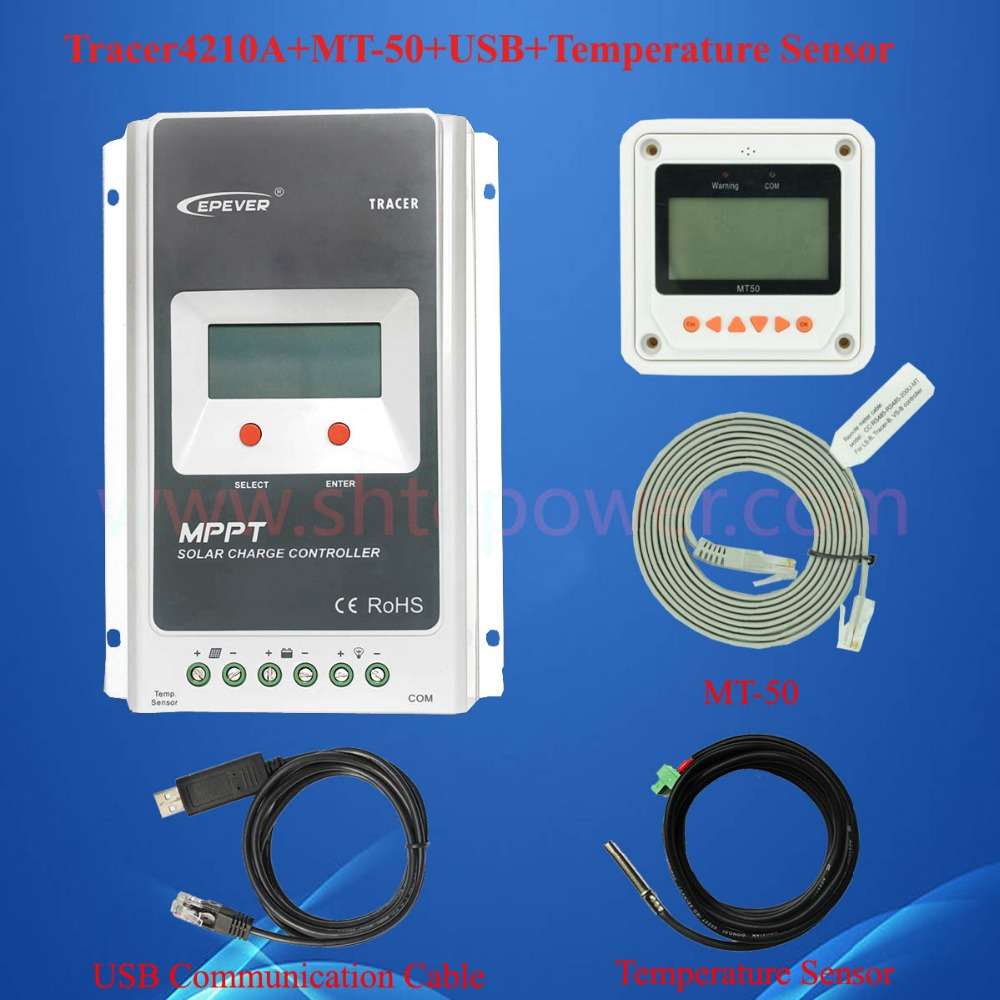 40A 12v/24v auto work mppt solar charge control with MT50 meter and USB communication cable & temperature sensor Tracer4210A 12v 24v auto work solar power bank regulators with usb cable and wifi box connect function tracer4210a mppt free shipping