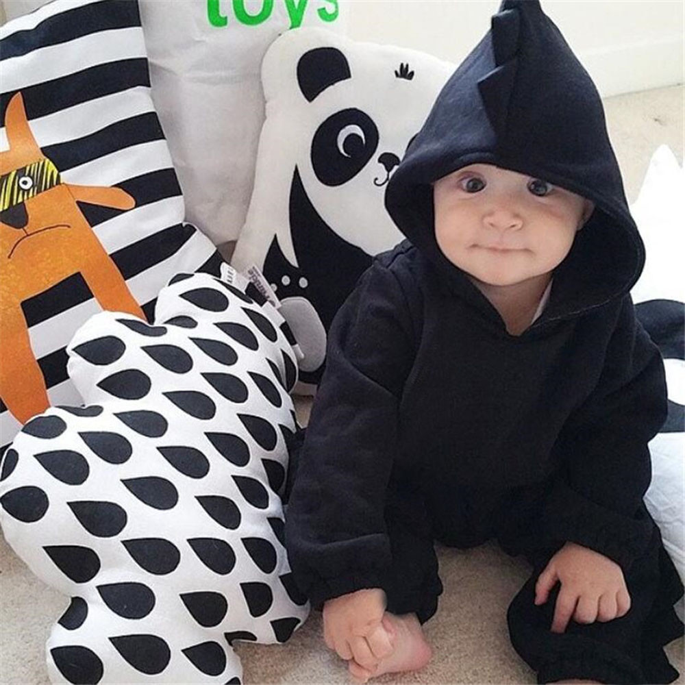 New arrival Newborn Baby Boys Girls Cartoon Dinosaur Hooded Full Romper Jumpsuit Clothing Outfits Winter warm cute home clothes