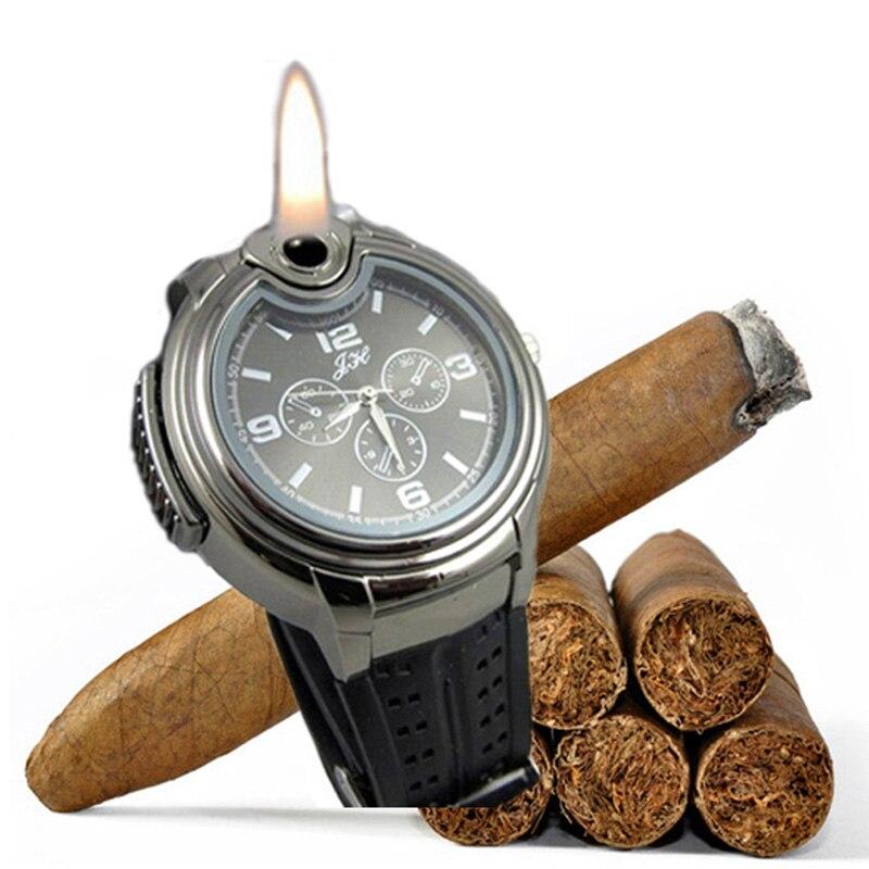 Prix pour Silicone Montre Homme Cigarette Allume-cigare Horloge Militaire Montres pour Hommes Relogio Masculino Noir/Argent