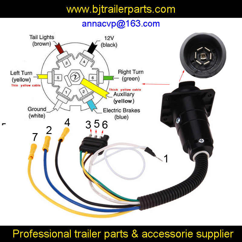 Cvp 4 Way Flat To 7 Way Round Rv Blade Trailer Light Plug Wire Harness Adapter Converter Trailer