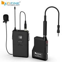 Fifine 20-канал частоты UHF Беспроводной петличный микрофон Lavalier системы с нательный передатчик, мини лацкан микрофон и портативный ресивер