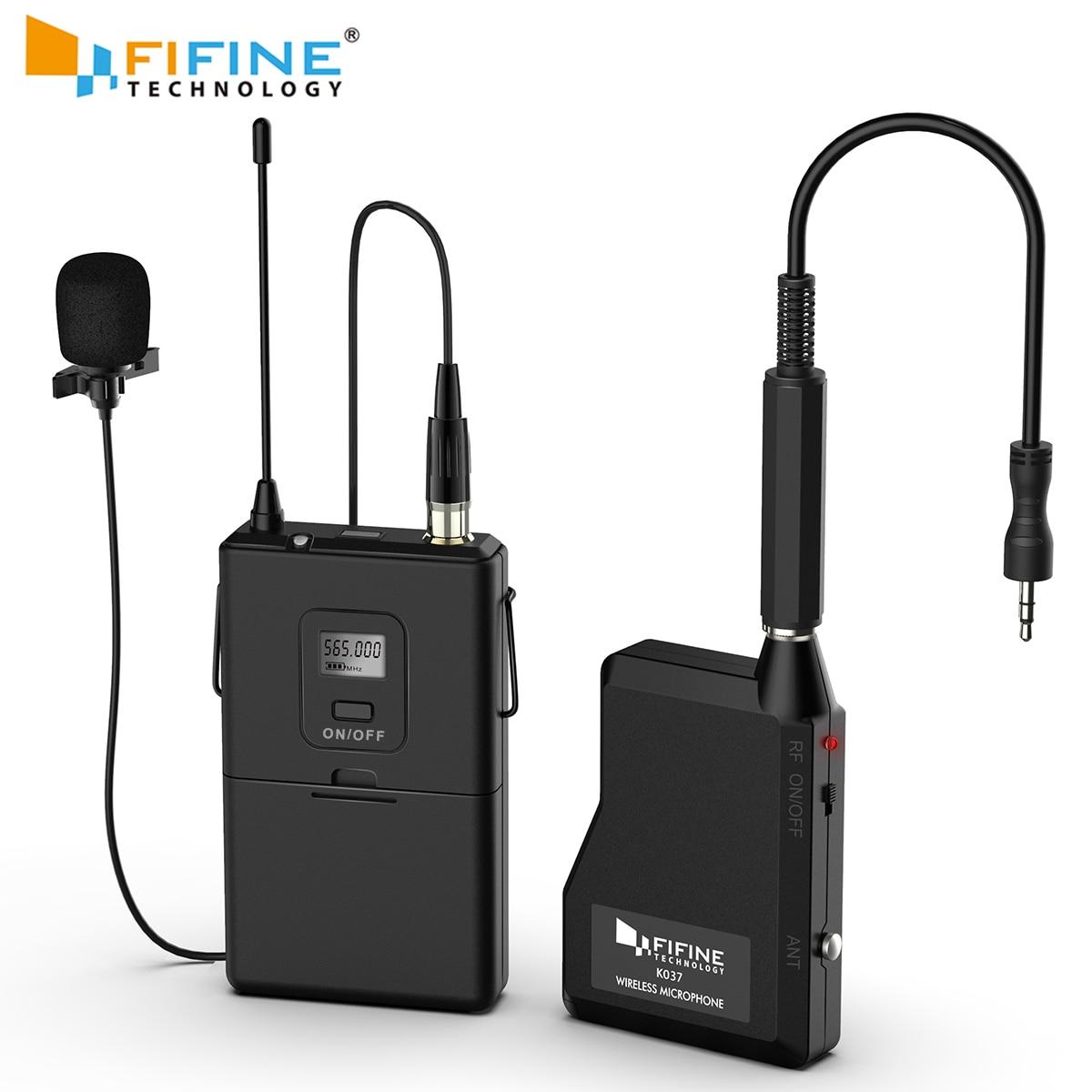 Fifine 20-Canale UHF Wireless Lavalier Risvolto Microfono di Sistema con Trasmettitore da tasca, Mini Risvolto Microfono e Ricevitore Portatile