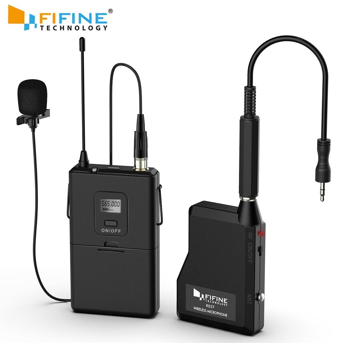 Fifine 20 canaux UHF sans fil Lavalier système de Microphone avec transmetteur Bodypack, Mini micro de revers et récepteur Portable