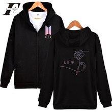 LUCKYFRIDAYF Kpop BTS Sweartshirt Hoodie Bangtan Boys Hip Hop Streetwear Autumn Coat Couple Jacket Fashion Zipper Plus Hot Sale