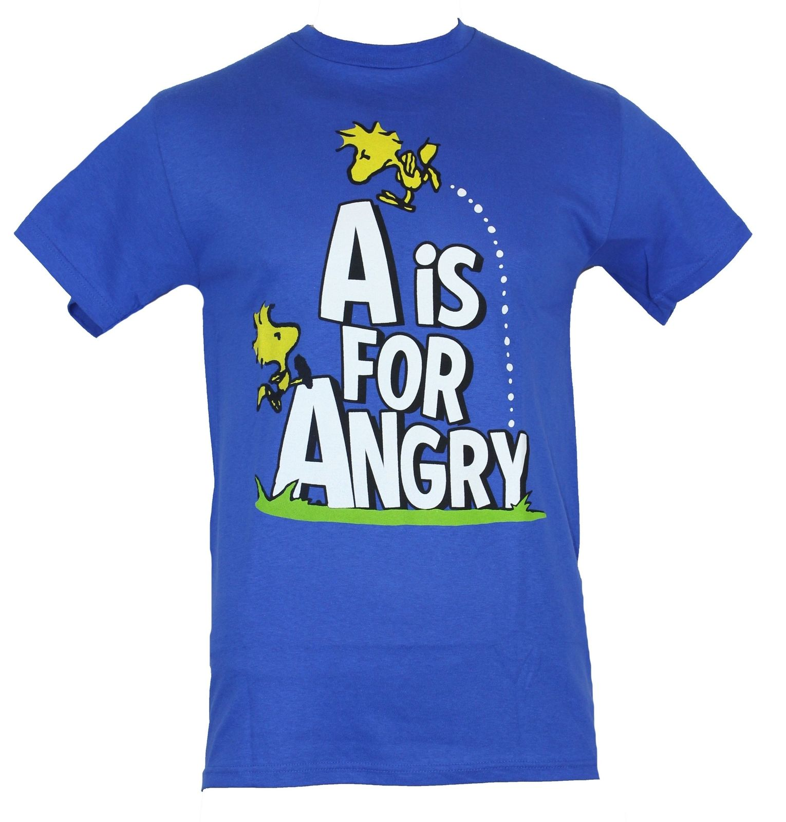 "Peanuts Mens T-Shirt - ""A is for Angry"" 2 Woodstocks Playing On Logo Image   Cool Casual pride t shirt men Unisex Fashion"