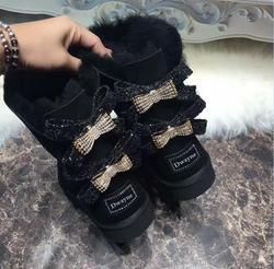 HOT Lady Brand Australia boot Two diamond Bowknots Boots High Quality Women Winter Warm Genuine sheep Leather real fur boot