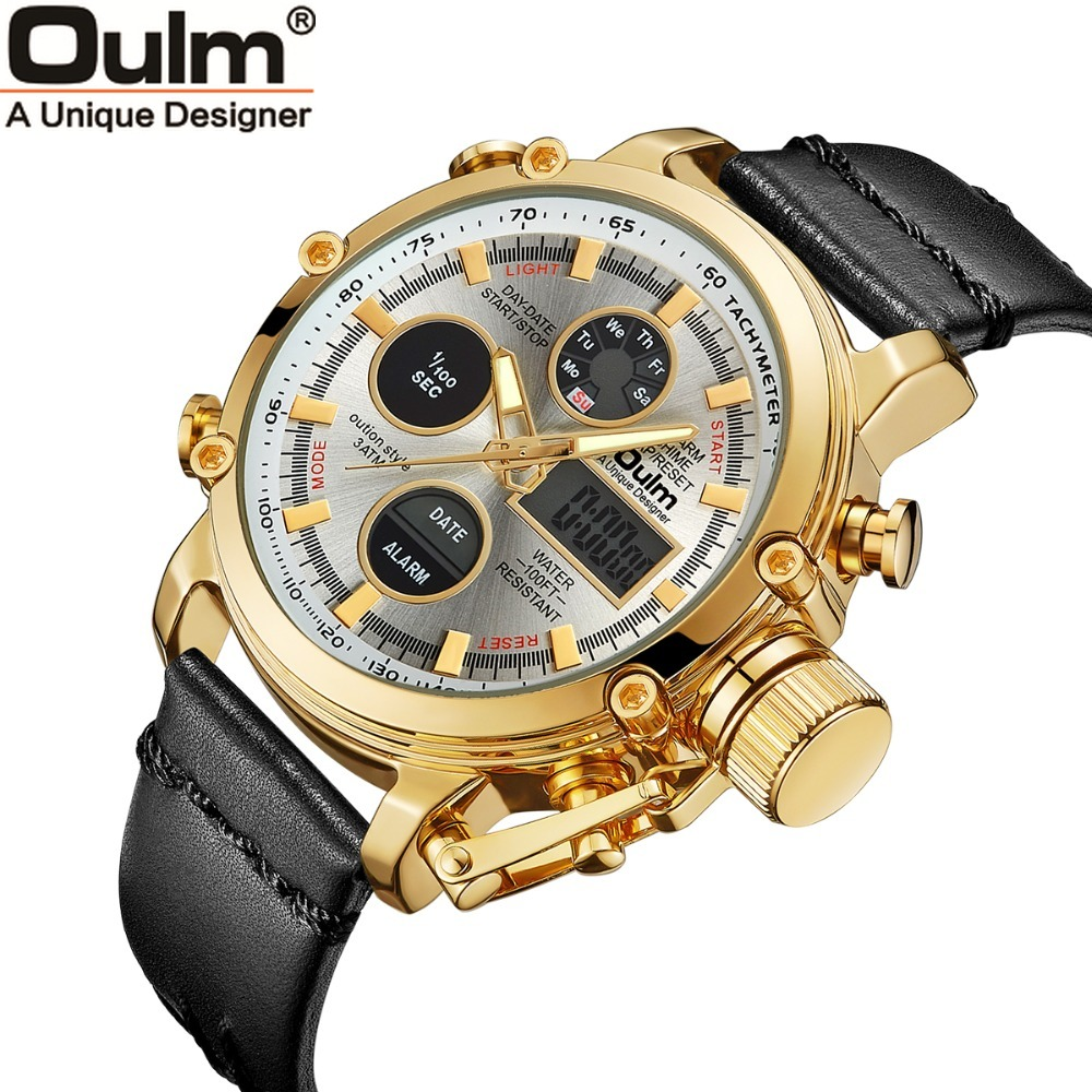 Oulm Mens Orologio Al Quarzo Doppio Display Analogico Digitale Uomo Orologi Top Brand di Lusso In Oro Sport Maschio Orologio Relogio Masculino