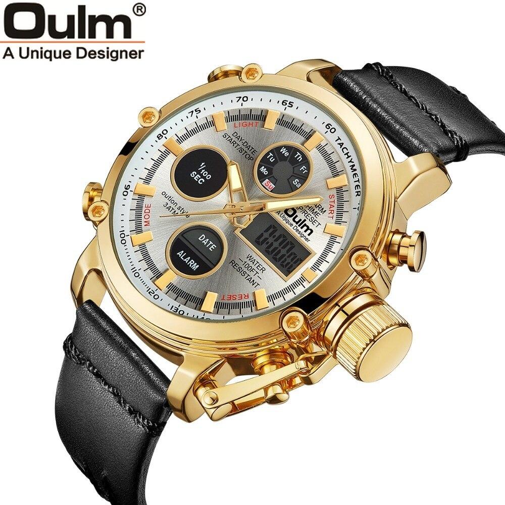 Oulm de cuarzo reloj pantalla doble analógico Digital relojes hombre  superior de la marca de lujo de oro deportes hombre reloj Relogio Masculino 08a850667996