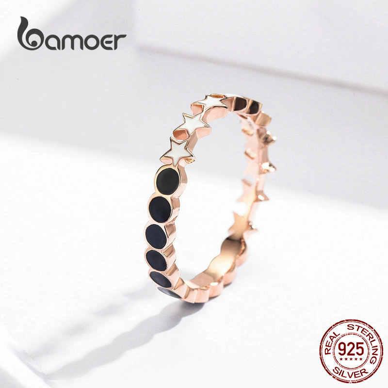 BAMOER Moon และ Star แหวนผู้หญิงสีขาวและสีขาวเคลือบแหวน 925 เงินสเตอร์ลิงเครื่องประดับ SCR526