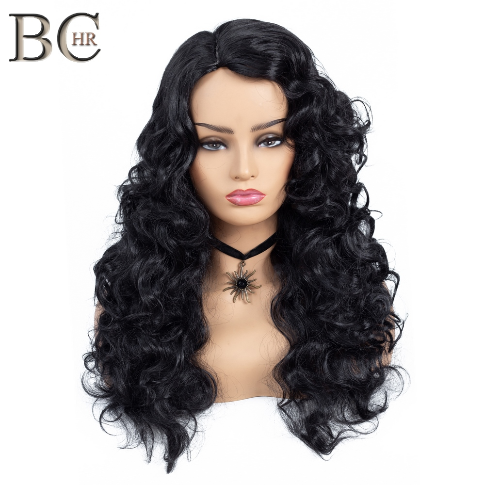 BCHR Body Wave Synthetic Wig for Black Women Natural Black Side Part Long Wig Heat Resistant Fiber Hair Wigs