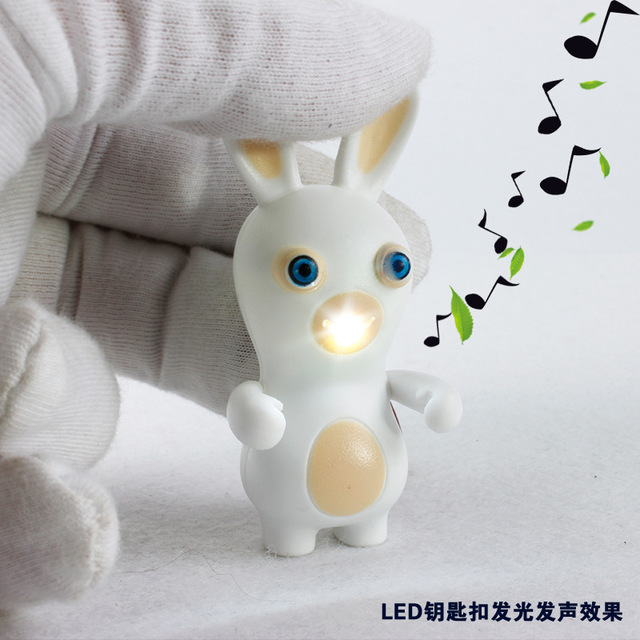 Crazy cute white rabbit font b LED b font sound light key chain funny cartoon modelling