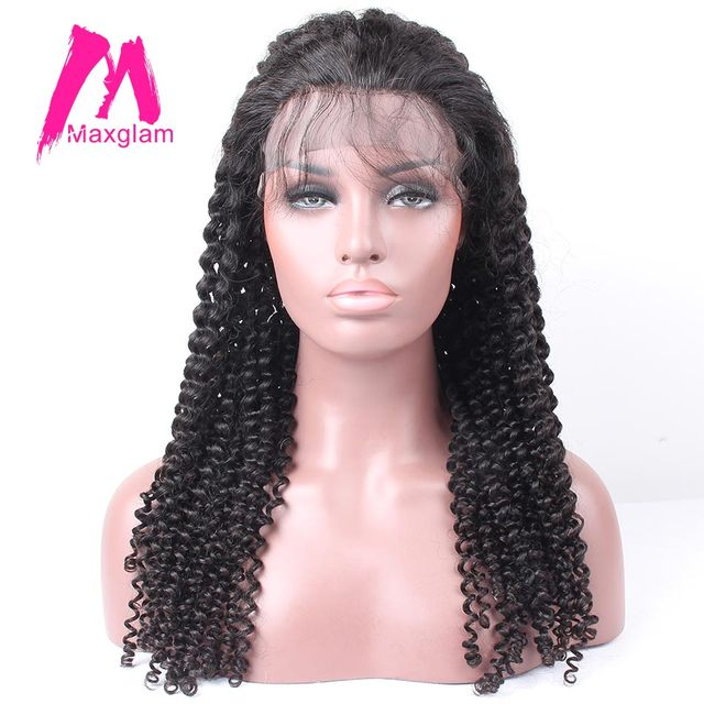 Maxglam Lace Front Human Hair Wigs For Afro American Wig With Baby Curly