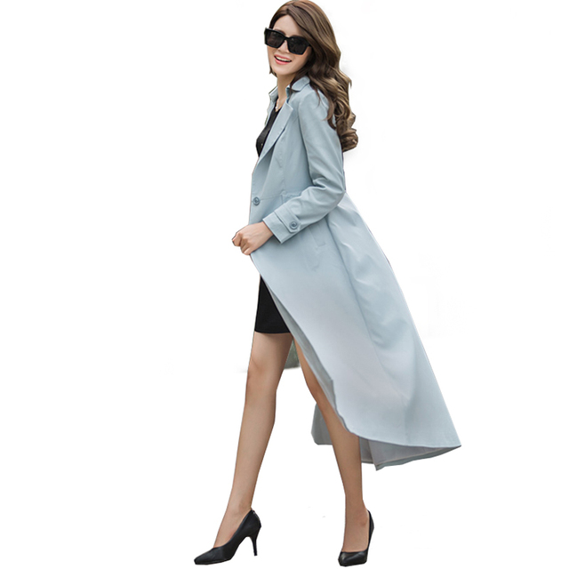 ROSELUOSI 2016 Autumn New Plus Size X-Long Trench Coats For Women Casual Solid Color Overcoat Casacos Longos Femininos RS089