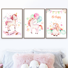 Watercolor Pink Unicorn Nordic Poster And Prints Wall Art Canvas Painting Pictures Kids Baby Room Scandinavian Home Decor