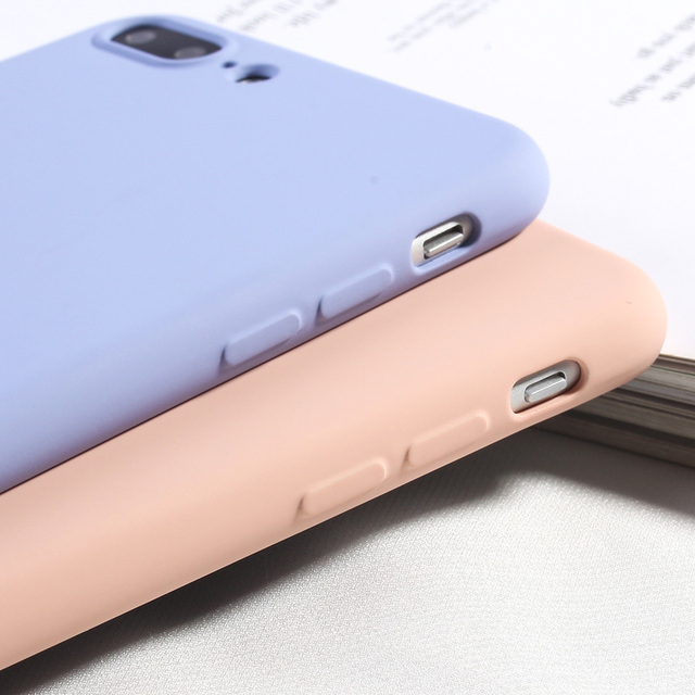 Candy Color Phone Cover For iPhone 8 Plus Luxury Liquid Silicone Case For iPhone 6 6s Plus 7 8 X XS XR XS Max Soft TPU Back Capa
