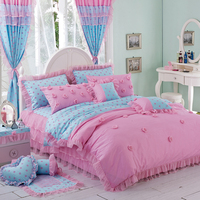 Romantic ruffle wedding bedding set girl twin full queen king size 100%cotton pink single bedclothes pillow shams quilt cover