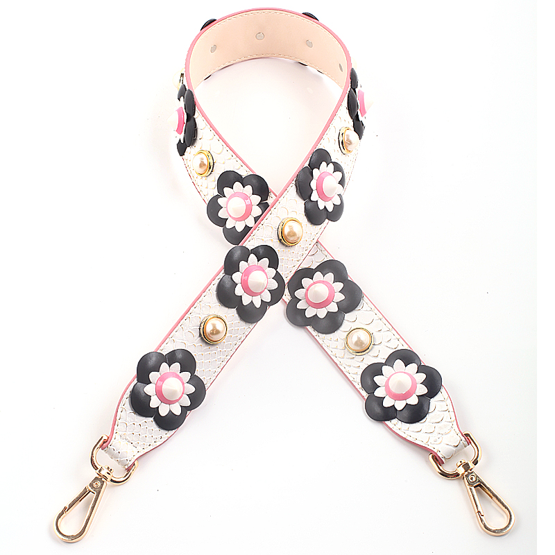 00fbfce95e0b5d Fashionable Chic Rivet Flower Bag Strap Women Bag Belts Snakeskin Pu  Leather Bag Parts Ladies Handbag ...