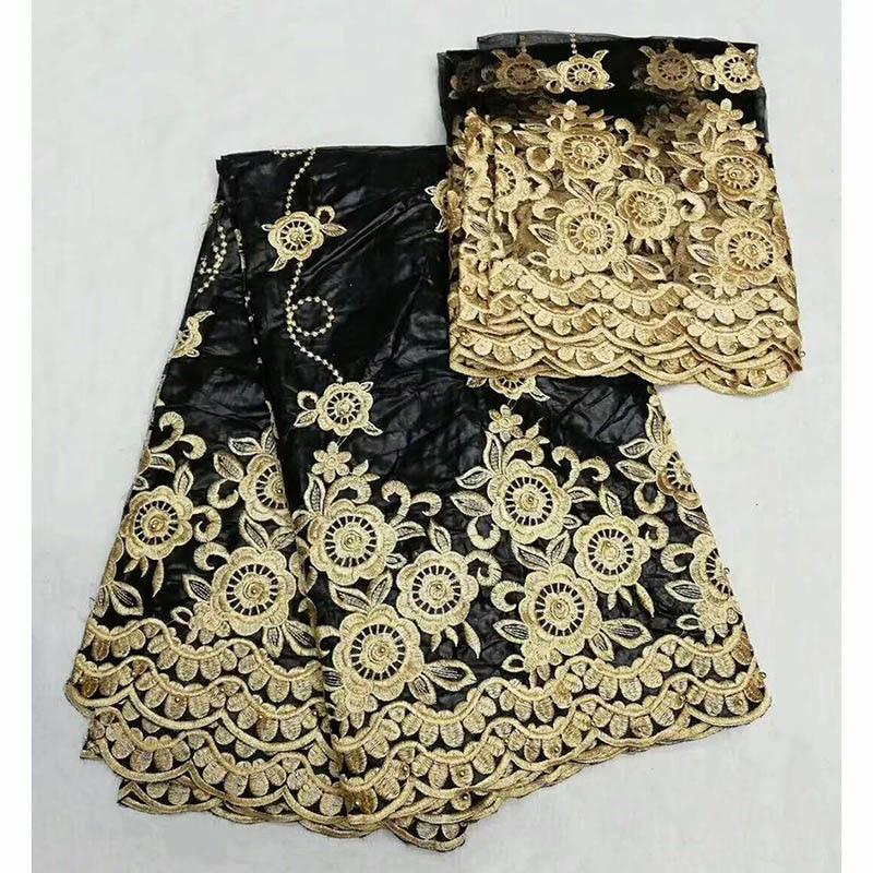 2018 BLACK Bazin Riche Fabrics Hot Selling Bazin Riche Getzner with Blouse Embroidered Brocade 5+2 Yards/Lot Bazin Laces Fabrics ...