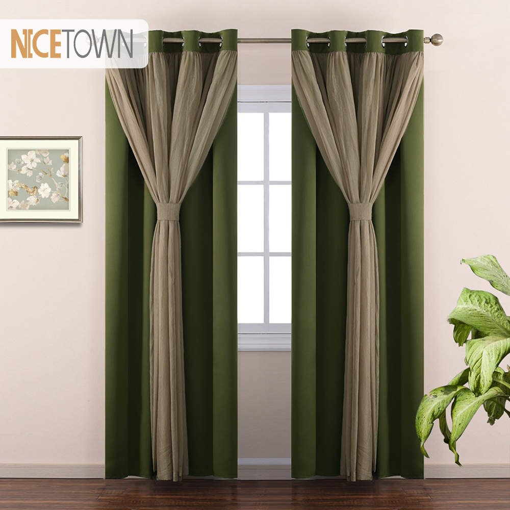 Teal Blackout Curtains Us 22 91 10 Off Nicetown European And American Style 2 Layers Mix Match Elegance Teal Crushed Voile X Blackout Curtain Drapery Panel 1 Panel In