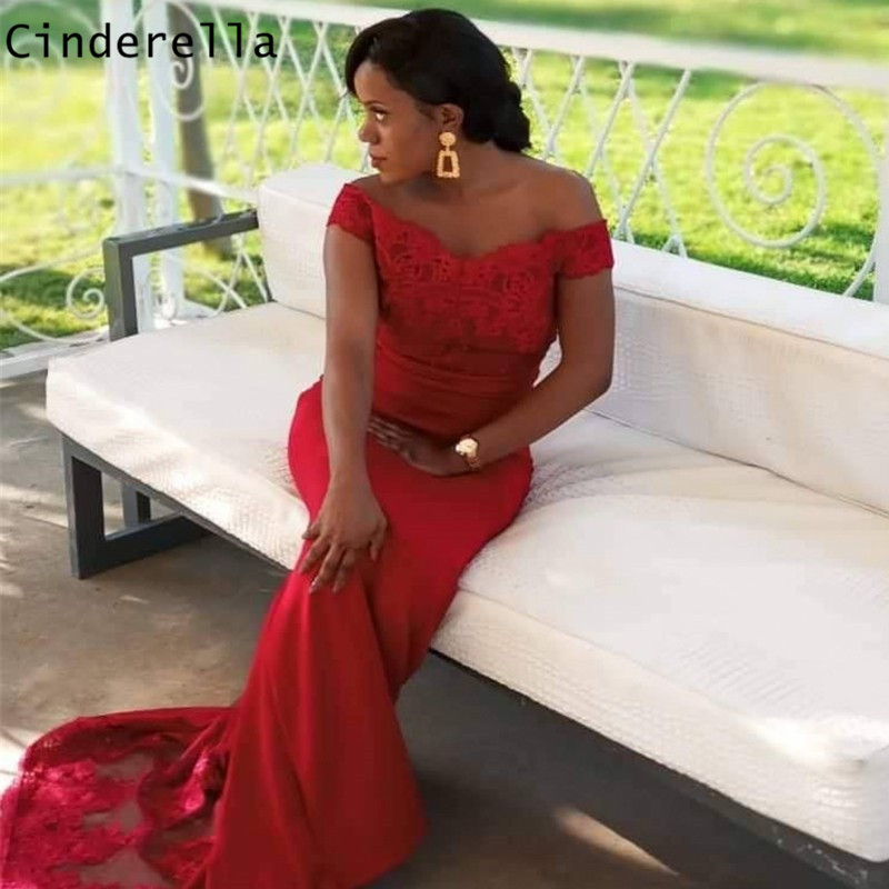 Fashion V-Neck Off The Shoulder Floor Length Satin Pleated Mermaid   Bridesmaid     Dresses   Sexy Red   Bridesmaid     Dresses