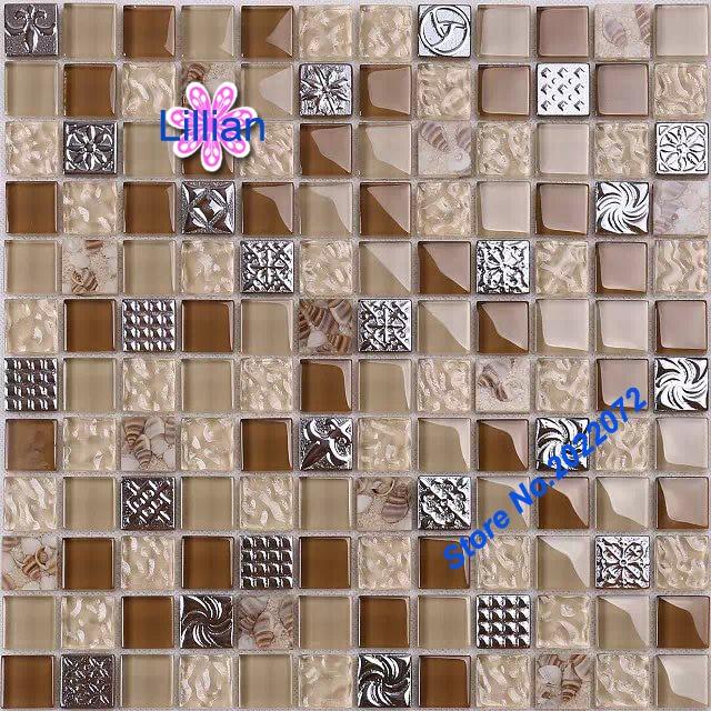 Abalone Shell Sheets Brown Tile Backsplash Art Deco Mosaic Tiles - Art deco mosaic tile patterns