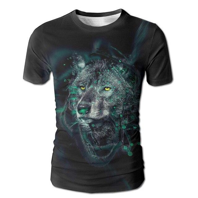 Dutrodu Men S Wolf Custom Full Print T Shirt Sublimation Digital White Prnit Cool