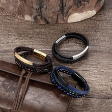 High Quality Genuine Leather Weave Bracelet Stone Beads Stainless Steel Magnet Charm Brace