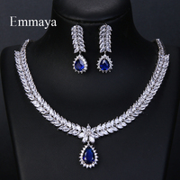 Emmaya Luxury AAA Cubic Zircon 4 Colors Water Drop Wedding Earrings Necklace For Women Bridal Jewelry Sets Party Accessories