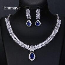 Emmaya zircão cúbico de luxo aaa, 4 cores, água, gota, brincos de casamento, colar para mulheres, conjunto de joias, acessórios para festa