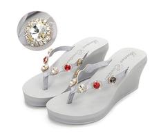 2018 Nouveau Summer Luxury ékszerek Papucsok Női High Heels Platform strasszos Causal Flip flops Beach Shoes Női ZX-09
